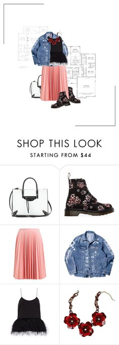 """""""Dr. Awesome."""" by zentella ❤ liked on Polyvore featuring Balenciaga, Dr. Martens, J.W. Anderson, TIBI, Bebe, DrMartens, floralprint, denimjacket and statementnecklace"""