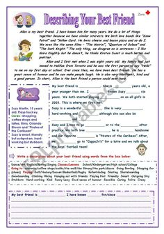 Describing your Best Friend - ESL worksheet by Zora English Writing, English Study, Academic Writing, Learn English, Grammar Exercises, English Exercises, English Worksheets For Kindergarten, Vocabulary Worksheets, Friend Activities