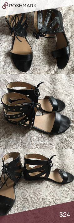 MIA Sz 10 Open Toe Black Silver Studded Sandal Preowned, worn once. Size 10 Open toe sandals with Studded details on the outside of the shoes Ties in front so adjustable  Style is called Helaine MIA Shoes Sandals