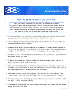 Dental health tips for aged.
