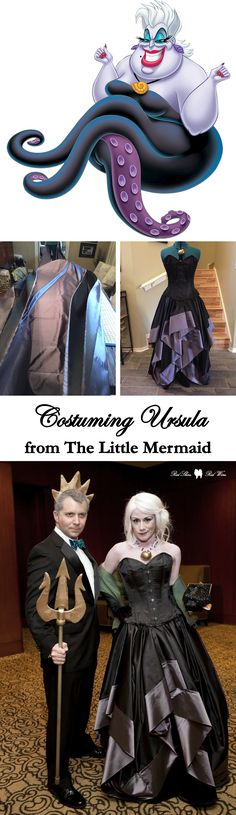 Costuming Ursula from Disney's The Little Mermaid (cosplay, costume, halloween, diy, do it yourself, homemade, sew, sewing, sea witch, sea bitch, dragoncon, comic con, makeup, how to, king triton, crown, skirt, tentacles, wig, shell necklace, cosplaying, cosplayer, costumer, black, purple)