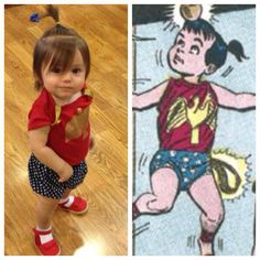 Our Wonder Tot. I think the costume turned out really well. The shoulder ornaments kept falling (easy fix) as she played, but overall a great look. Wonder Woman Wonder Tot