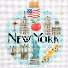 NEW YORK TRAVEL ROUND ORNAMENT by Kirk and Bradley