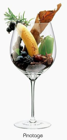 Pinotage (red)   Aromas of blackberry, black currant, banana, black cherry, blueberry, bell pepper, rosemary, clove, juniper, black pepper, bay laurel, anise, coffee, tobacco   Cross between Pinot noir & Cinsaut. South Africa's signature variety   South Africa