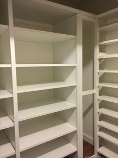 This closet was designed to hold suitcases, out of season decorations, linens, household items such as light bulbs, flashlights, batteries and electrical items. Shelves are all adjustable and the right section can be removed for the addition of a water heater, then replaced.