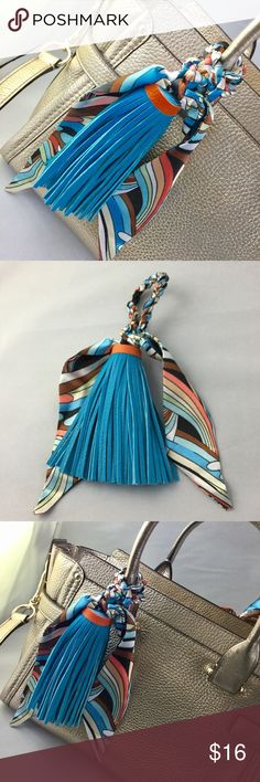 New Large Blue Tassel & Scarf Purse Handbag Charm Accessorize your handbag with this fantastic tassel/scarf combo! Turquoise blue and orange faux leather and a silky print scarf. Just in time for Spring and Summer! Check out my other listings for more purse charms and Handbag accessories. Feel free to bundle for a discount and to save on shipping I ship quick! Accessories