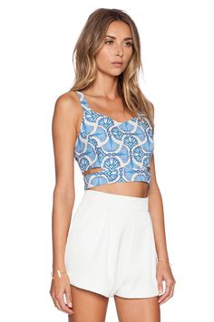 J.O.A. Cut Out Bustier Top in Blue | REVOLVE