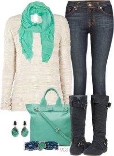 need the scarf, earrings, and maybe a bag to go with those mint shoes i got. already have the shirt