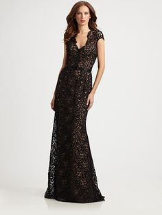 Theia - Lace Gown - Saks.com