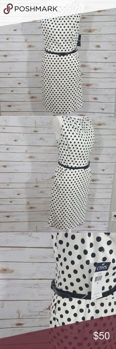 NWT Polka Dot Chaps Sheath Dress With Belt Beautiful white and black sheath dress. Never worn. No stains. Smoke free home. Belt is still attached. Brand is Chaps Branded for exposure. MAKE AN OFFER BUNDLE AND SAVE White House Black Market Dresses