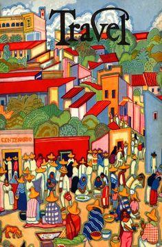 1929 MEXICAN TRAVEL POTTERY FARM MARKET COVARRUBIAS ART DECO COVER POSTER 317423