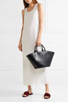 The Row - To Go Leather Tote - Navy