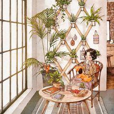 애뽈 (@_aeppol) в Instagram: «How about making your own garden at a small place of your home? Blue Sansevieria, fragrant…» Forest Illustration, Cute Illustration, Kids Woodworking, Woodworking Furniture, Barn Plans, Garage Plans, Gouache, Kids Furniture, Furniture Plans