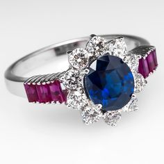 Blue Sapphire & Diamond Halo Engagement Ring w/ Ruby Accents 14K White Gold