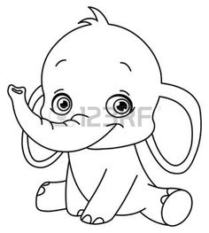 elephant silhouette outlined baby elephant illustration free coloring pagesprintable - Cute Baby Elephant Coloring Pages