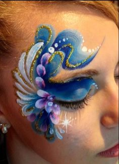 I bet I could turn this into a beautiful frozen face! Face Painting Images, Face Painting Tips, Adult Face Painting, Belly Painting, Face Painting Designs, Face Paintings, Kids Makeup, Face Makeup, Horror Make-up