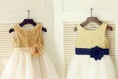 Gold Sequin IvoryTulle Flower Girl Dress Navy Blue