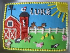 Barnyard first birthday - Barnyard sheet cake. Chocolate WASC with vanilla pudding and strawberries. Fondant decorations. Thanks to a fellow CC'er for the design idea.
