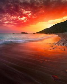 A beautiful sunset in Aphrodite's Rock, Paphos, Cyprus