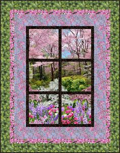 FREE PATTERN >> Outside My Window, Next Step Quilt Designs. Botanic Garden - Timeless Treasures