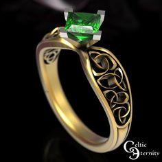 Celtic Gold Emerald Engagement Ring 1 Carat Solitaire Ring | Etsy Celtic Knot Ring, Celtic Rings, Cute Promise Rings, Irish Wedding Rings, Celtic Engagement Rings, Platinum Wedding Rings, Thing 1, 1 Carat