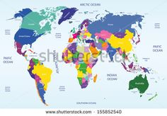 colored geopolitical world map - stock vector