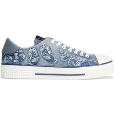 Valentino Appliquéd denim sneakers ($1,185) via Polyvore featuring shoes, sneakers, light denim, lace up shoes, small heel shoes, low profile sneakers, denim shoes and lace up sneakers