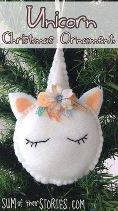 Tutorial and pattern: Felt unicorn Christmas ornament - - Wouldn't you love to have this adorable unicorn ornament hanging on your Christmas tree? Julie from Sum of Their Stories shares a tutorial and free pattern for making one. The little unicor…. Christmas Sewing, Handmade Christmas, Christmas Diy, Christmas Projects, Christmas Music, Hygge Christmas, Christmas Patterns, Christmas Store, Magical Christmas