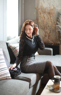 Korean Women`s Fashion Shopping Mall, Styleonme. Cozy Fashion, Girl Fashion, Fashion Dresses, Pantyhose Outfits, Black Pantyhose, Girls In Mini Skirts, Nicole Scherzinger, Elegant Outfit, Beautiful Asian Women