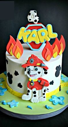 Paw Patrol Birthday Cake - Cake by miettes Paw Patrol Cake, Paw Patrol Birthday Cake, 3rd Birthday Cakes, Paw Patrol Party, Pastel Paw Patrol, Cake Disney, Beautiful Birthday Cakes, Tall Cakes, Character Cakes