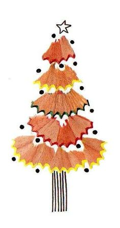 Sharpen those pencils – and not just to draw with! Use the shavings to create your own Christmas tree design. Diy And Crafts, Christmas Crafts, Crafts For Kids, Arts And Crafts, Christmas Decorations, Paper Crafts, Christmas Ornaments, Pencil Shavings, Navidad Diy
