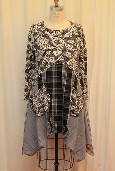 Plaid Tunic Top Black white Bohemian Clothing Upcycled by MilaLem
