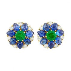 Pair of Gold, Emerald, Cabochon Sapphire and Diamond Earclips High Jewelry, Jewellery, Bvlgari, Vintage Earrings, Diamond Rings, Emerald, Sapphire, Auction, Pairs