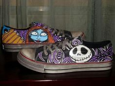 The Nightmare Before Christmas Jack and Sally Handpainted Custom Shoes