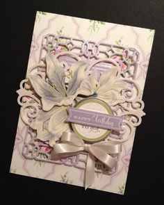 Shabby-Sweet Lily Birthday Card with Elegant Floral Anna Griffin Papers