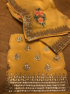 Mustard yellow Punjabi suit with overall gota patti motifs and on borderline, in coordinating straight pants and dupatta that is enhanced with resham threadwork and gota embroidery. DM to order. Gota Patti Suits, Gota Patti Saree, Designer Punjabi Suits, Indian Designer Wear, Yellow Punjabi Suit, Punjabi Suits Party Wear, Rajasthani Dress, Rajputi Dress, Embroidery Suits Design