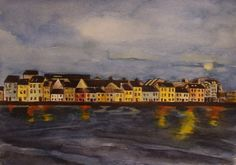 'The Long Walk - A Clear Night, Galway' by Fiona Concannon on ArtClick. Long A, Giclee Print, Ireland, Walking, Night, Artist, Prints, Painting, Painting Art