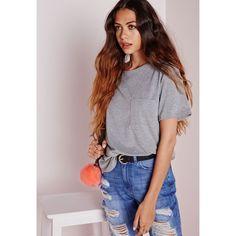 Basic One Pocket T Shirt Grey Tops via Polyvore featuring tops, t-shirts, grey pocket t shirt, gray tee, pocket tops, grey top and gray top