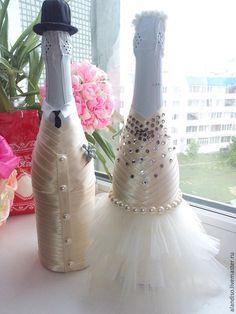 """ручной работы. Ярмарка Мастеров - ручная работа. Купить Бутылки свадебные""""жених и невеста"""". Handmade. Свадьба, жених и невеста, фатин мягкий"""
