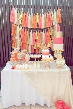 Orange, Pink and Gold party table Cute Wedding Dress, Fall Wedding Dresses, Rose Gold, Pink And Gold, Table Rose, Tissue Paper Tassel, Festa Party, Party Party, Pink Parties