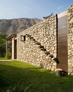 Peruvian architect, Marina Vella, has completed Chontay Stone House on a rural site, south-east of Lima. Project By Marina Vella Arquitectos Architecture Design, Facade Design, House Design, Exterior Design, Stone Stairs, Stone Facade, Brick And Stone, Stone Work, Stone Houses