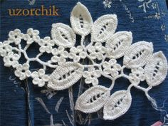 crochet lace flowers and leaves