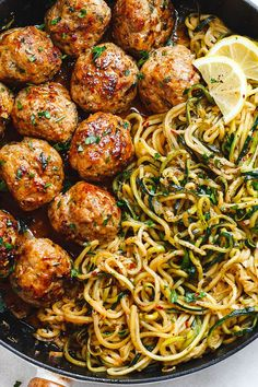 Garlic butter meatballs with lemon zucchini noodles .- Knoblauchbutter-Fleischbällchen mit Zitronen-Zucchini-Nudeln – Diese … – – Jule H. Garlic Butter Meatballs with Lemon Zucchini Noodles – These … – – # Garlic butter meatballs - Healthy Dinner Recipes, Diet Recipes, Lunch Recipes, Quick Easy Healthy Dinner, Summer Recipes, Meal Prep Recipes, Cooker Recipes, Simple Healthy Meals, Healthy Lunch Ideas