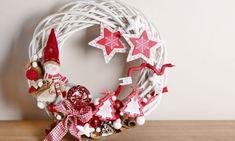Corona navideña en rojo y blanco