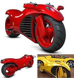 Ferrari V4 Superbike Concept  Designer Amir Glinik conceptualized this Ferrari V4 superbike. He created his design around the theoretical application of the Ferrari Enzo's V12 engine, chopped down to four cylinders and modified to drive in a motorcycle frame. Hopefully this hot puppy will be hitting the highway soon. It's lean and mean.