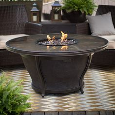 Agio Moonlight 48 in. Round Fire Pit Table with FREE Cover | from hayneedle.com