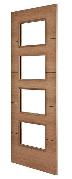 Jerez Oak 4-Light Bespoke Door - Angle