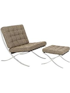 LeisureMod Modern Bellefonte Pavilion Chair & Ottoman (Oatmeal Wool) ❤ LeisureMod