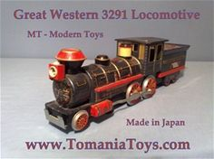 Great Western - No. 3291  Locomotive Train Tin Toy - Greatly Lithographed Locomotive Batteryoperated - MT Modern Toys - Trade Mark  Made in Japan