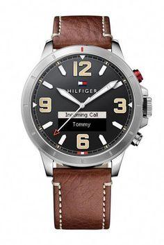 Tommy Hilfiger TH Smartwatch Brown Leather Strap Black Dial 1791296 7b43f469b4